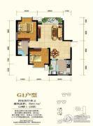 锦丽花语2室2厅1卫86平方米户型图