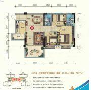 云尚四季3室2厅2卫95平方米户型图