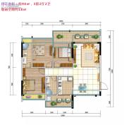 城市名庭3室2厅2卫96平方米户型图