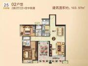 御景豪园2室2厅2卫103平方米户型图