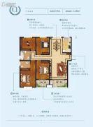 常绿林溪美地4室2厅2卫140平方米户型图