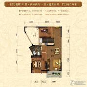华仪香榭华庭2室2厅1卫72平方米户型图