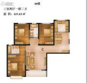 城南绿地3室2厅2卫127平方米户型图