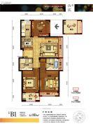 浙旅德信西宸3室1厅2卫89平方米户型图
