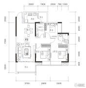 御品豪庭3室2厅3卫101平方米户型图