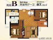 锦华御园2室2厅1卫87平方米户型图