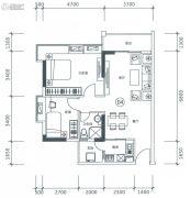 正太广场2室2厅1卫83平方米户型图