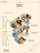 无锡孔雀城3室2厅2卫121平方米户型图