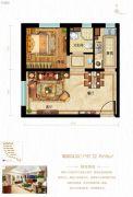 鸿坤原乡半岛1室2厅1卫60平方米户型图