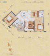 碧海紫金城3室2厅2卫108平方米户型图