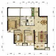 东方骏园3室2厅2卫98平方米户型图