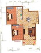 檀香湾2室2厅1卫95平方米户型图