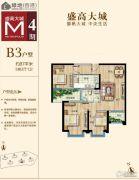 绿地・大城天地3室2厅1卫87平方米户型图