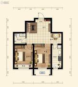 融创城2室2厅1卫64平方米户型图