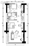 金融街海世界2室1厅1卫0平方米户型图