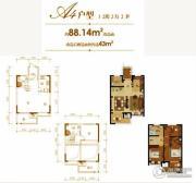 合成景园3室2厅2卫88平方米户型图