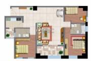 文化空间3室2厅2卫132平方米户型图