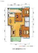 百江御城・龙脉3室2厅2卫123平方米户型图