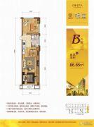 众安・朝阳银座1室1厅2卫86平方米户型图