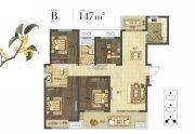 建业桂园4室2厅2卫147平方米户型图