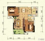中建宜城春晓2室2厅1卫77平方米户型图