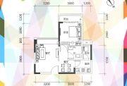 凯盛缤纷MALL1室1厅1卫49平方米户型图