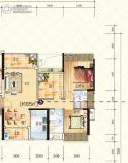 星海湾华庭3室2厅2卫85平方米户型图