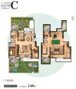 保利爱尚海4室2厅2卫148平方米户型图