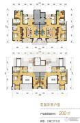 天津海航城3室2厅3卫200平方米户型图