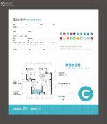 金辉C园2室2厅1卫87平方米户型图
