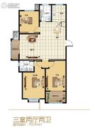 四季花都3室2厅2卫143平方米户型图