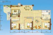 海岸国际假日花园3室2厅2卫136平方米户型图