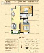 金桂湾2室2厅1卫98平方米户型图
