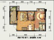 国盛园墅2室1厅1卫45平方米户型图