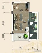 恩平泉林黄金小镇1室1厅1卫41--43平方米户型图