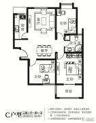 华诗雅地3室2厅1卫104平方米户型图