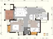 汇金城2室2厅1卫76平方米户型图