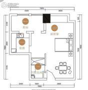 美洲故事1室2厅1卫60平方米户型图