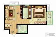 燕西台1室2厅1卫52平方米户型图