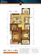 德信海德公园3室2厅1卫82平方米户型图
