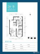 天朗美域2室2厅1卫88平方米户型图