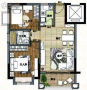南沙心意华庭2室2厅1卫68平方米户型图
