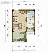 天籁谷1室1厅1卫32平方米户型图