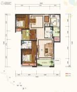 仁恒滨河湾3室2厅2卫120平方米户型图
