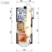 中央学府1室1厅1卫51平方米户型图
