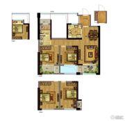 绿地旭辉城・峰汇3室2厅1卫90平方米户型图