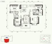 恒大山水城3室2厅2卫124平方米户型图