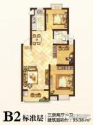格林春天3室2厅1卫95平方米户型图