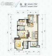 万科中天城市花园3室2厅2卫0平方米户型图
