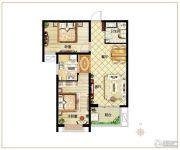 麒融国际2室2厅1卫88平方米户型图